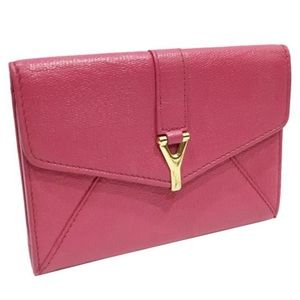 Yves Saint Laurent pink leather Ligne small wallet